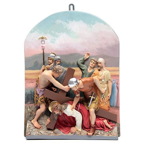 Vía Crucis 15 estaciones clásica en relieve pasta de madera 10