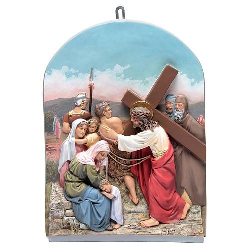 Vía Crucis 15 estaciones clásica en relieve pasta de madera 11
