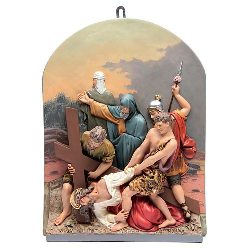 Vía Crucis 15 estaciones clásica en relieve pasta de madera 12
