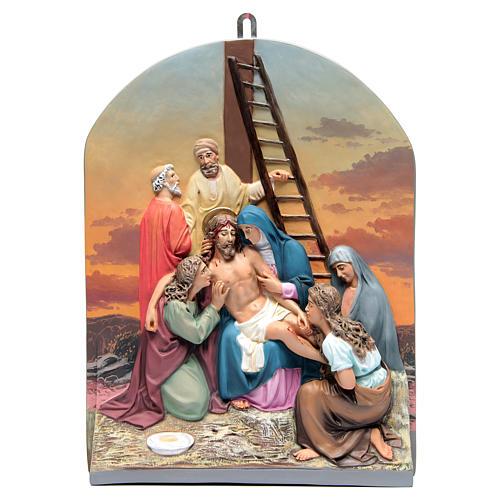Vía Crucis 15 estaciones clásica en relieve pasta de madera 16