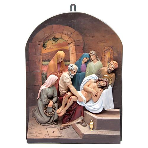 Vía Crucis 15 estaciones clásica en relieve pasta de madera 17