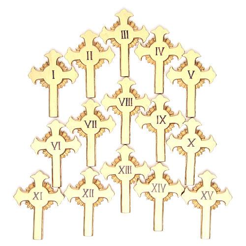 Vía Crucis 15 estaciones clásica en relieve pasta de madera 20