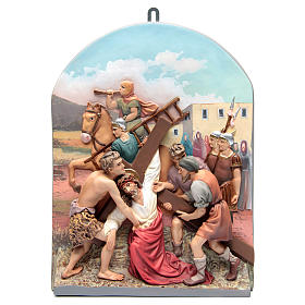 Via Crucis 15 stazioni rilievo classica pasta di legno s8