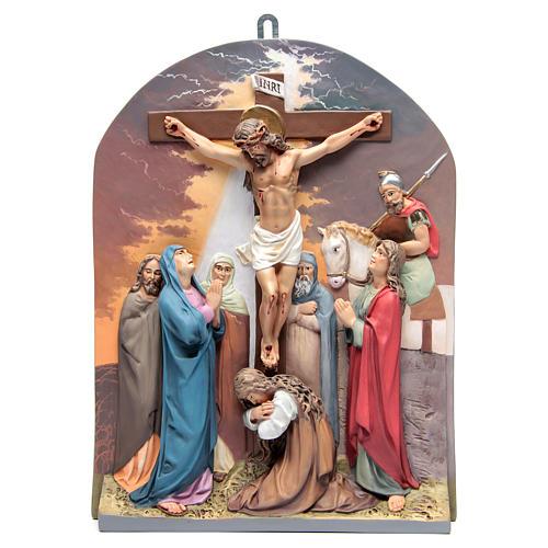 Via Crucis 15 stazioni rilievo classica pasta di legno 15
