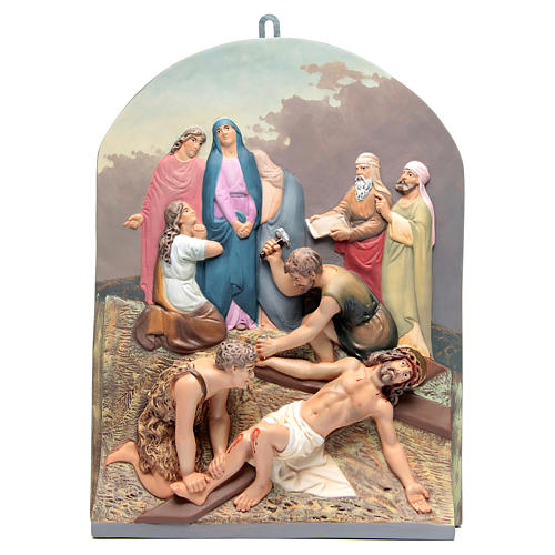 15 Stations of the Cross in relief in wood paste 14