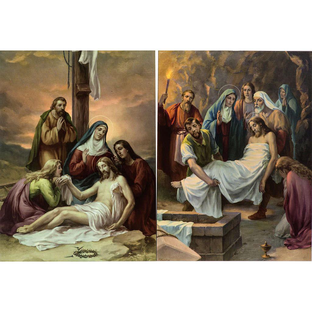 Vía Crucis 15 estaciones estampa sobre madera 4