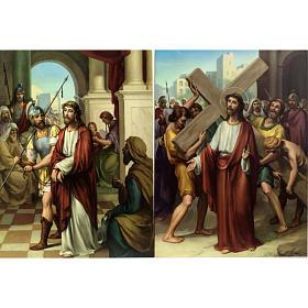 Vía Crucis 15 estaciones estampa sobre madera s3