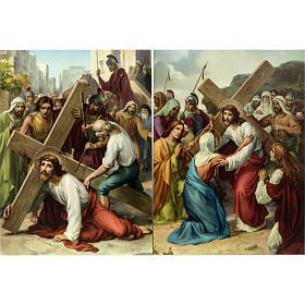 Vía Crucis 15 estaciones estampa sobre madera s4