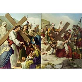 Vía Crucis 15 estaciones estampa sobre madera s6