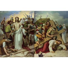 Vía Crucis 15 estaciones estampa sobre madera s7