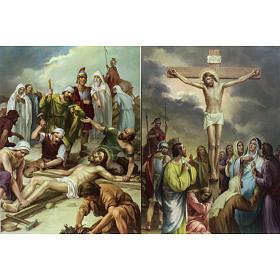 Vía Crucis 15 estaciones estampa sobre madera s8