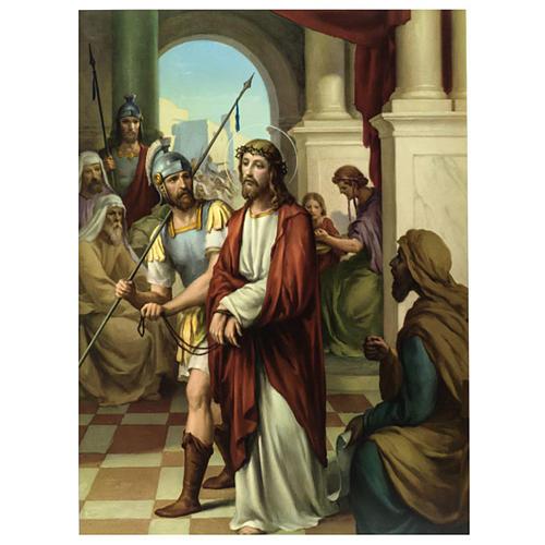 Vía Crucis 15 estaciones estampa sobre madera 1