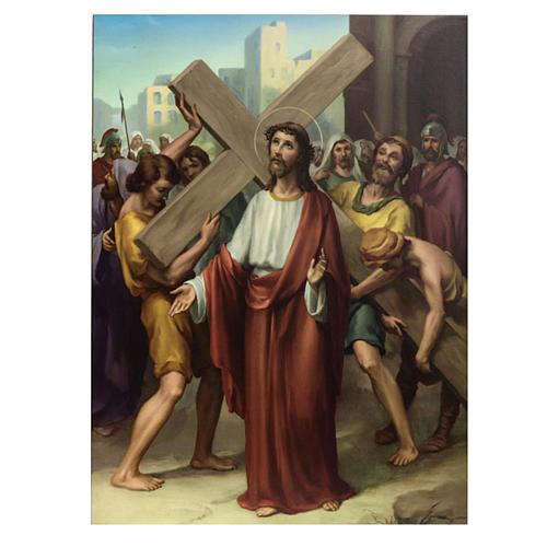 Vía Crucis 15 estaciones estampa sobre madera 2