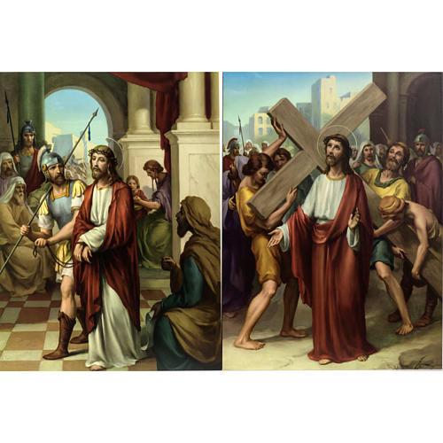 Vía Crucis 15 estaciones estampa sobre madera 3