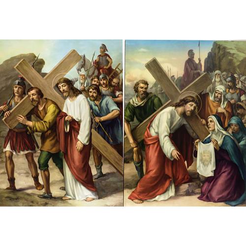 Vía Crucis 15 estaciones estampa sobre madera 5
