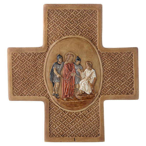 Stations of the cross in stone 22,5cm by Bethleem, 15 stations 1