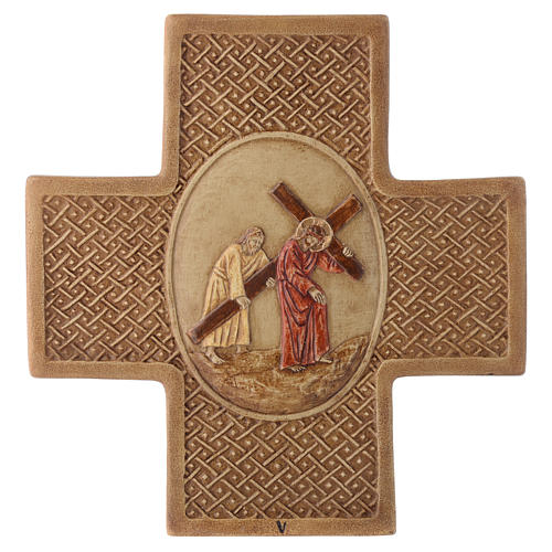 Stations of the cross in stone 22,5cm by Bethleem, 15 stations 5
