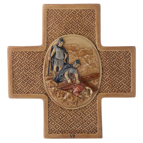 Stations of the cross in stone 22,5cm by Bethleem, 15 stations 7