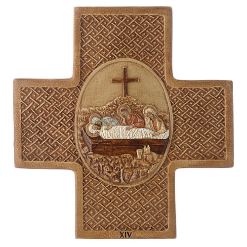 Stations of the cross in stone 22,5cm by Bethleem, 15 stations 14