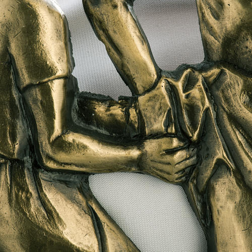 Way of the cross in brass with capital, 30x50cm 3