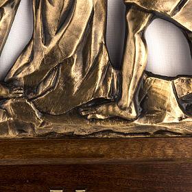Via Sacra latão moldado 30x50 cm com capitel 15 estações s4