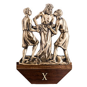Way of the cross in brass with capital, 30x50cm s1