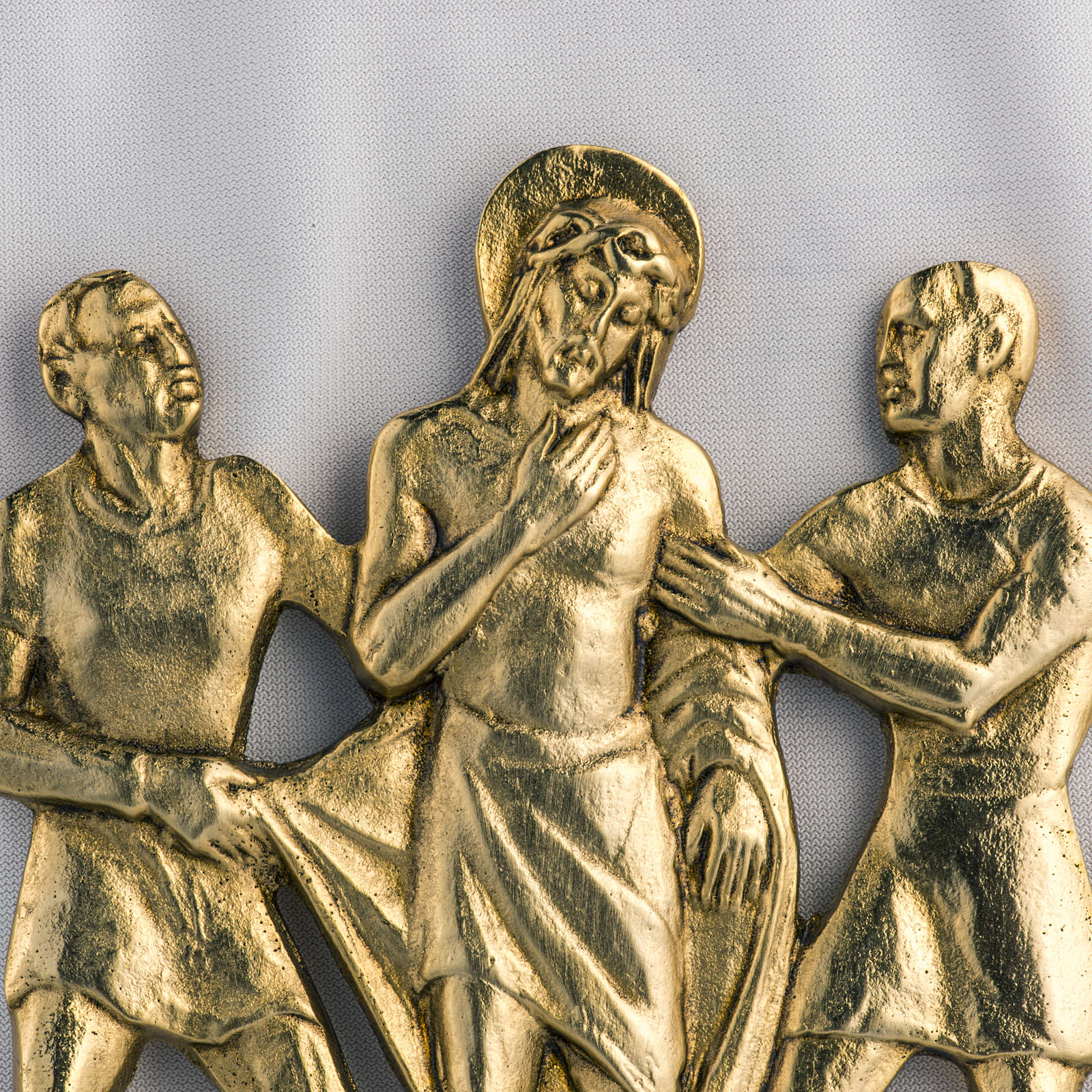 Way of the cross in brass, 17x20cm 4