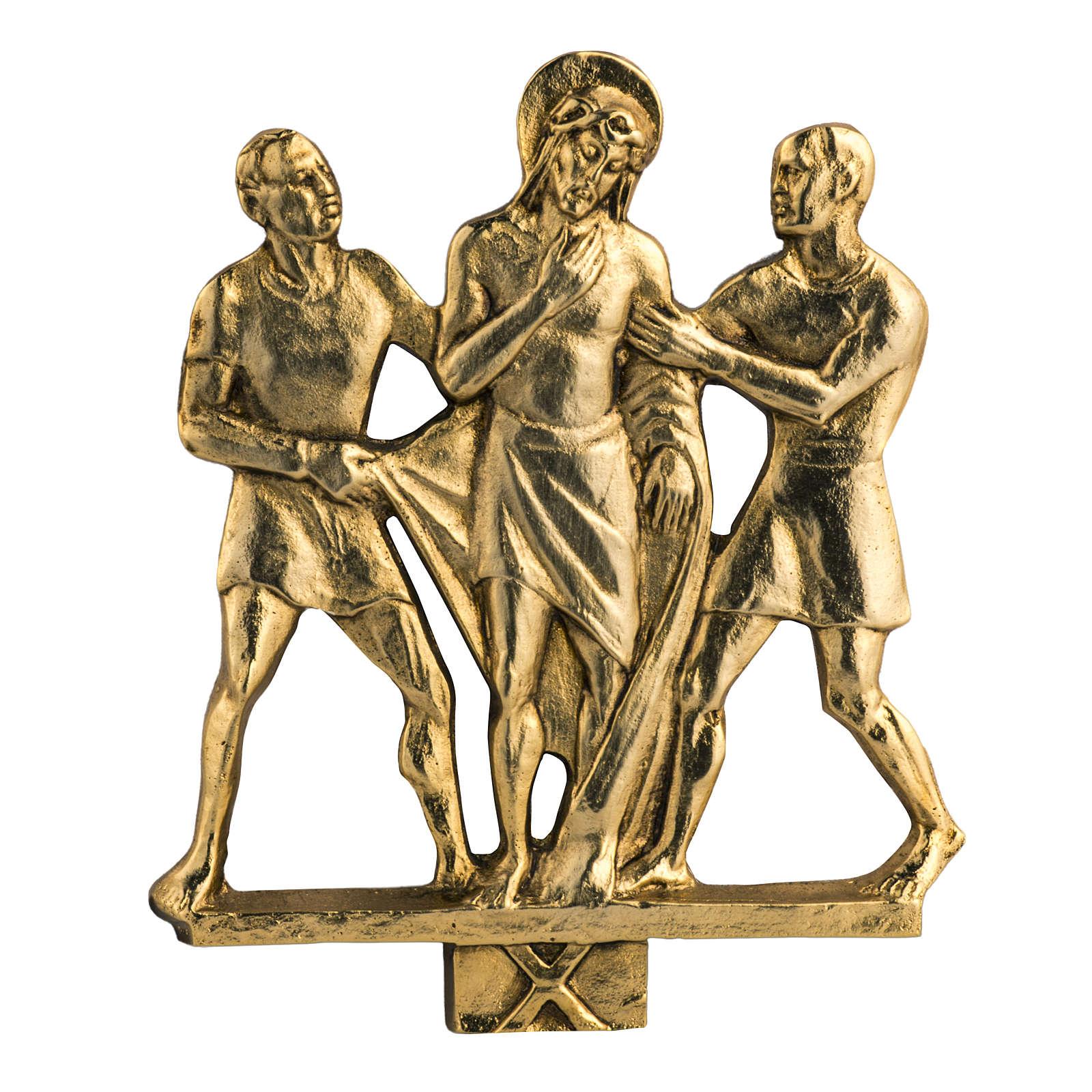 Way of the cross in brass, 17x20cm 4