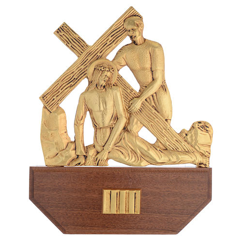 Way of the Cross in brass, 24x30 on capital - 15 stations 5