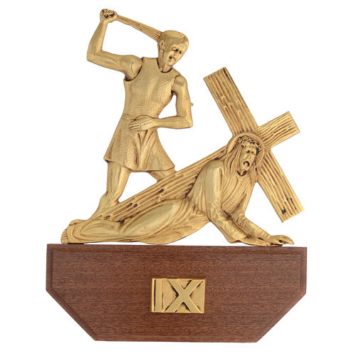 Way of the Cross in brass, 24x30 on capital - 15 stations 11