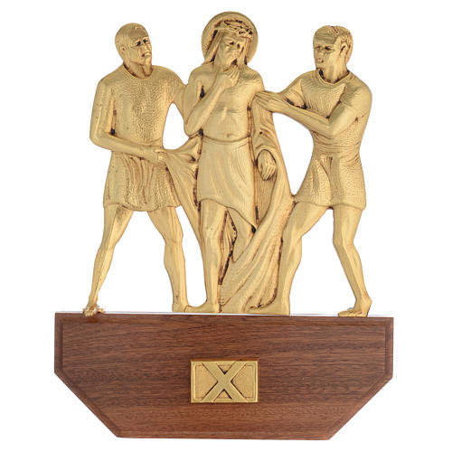 Way of the Cross in brass, 24x30 on capital - 15 stations 12