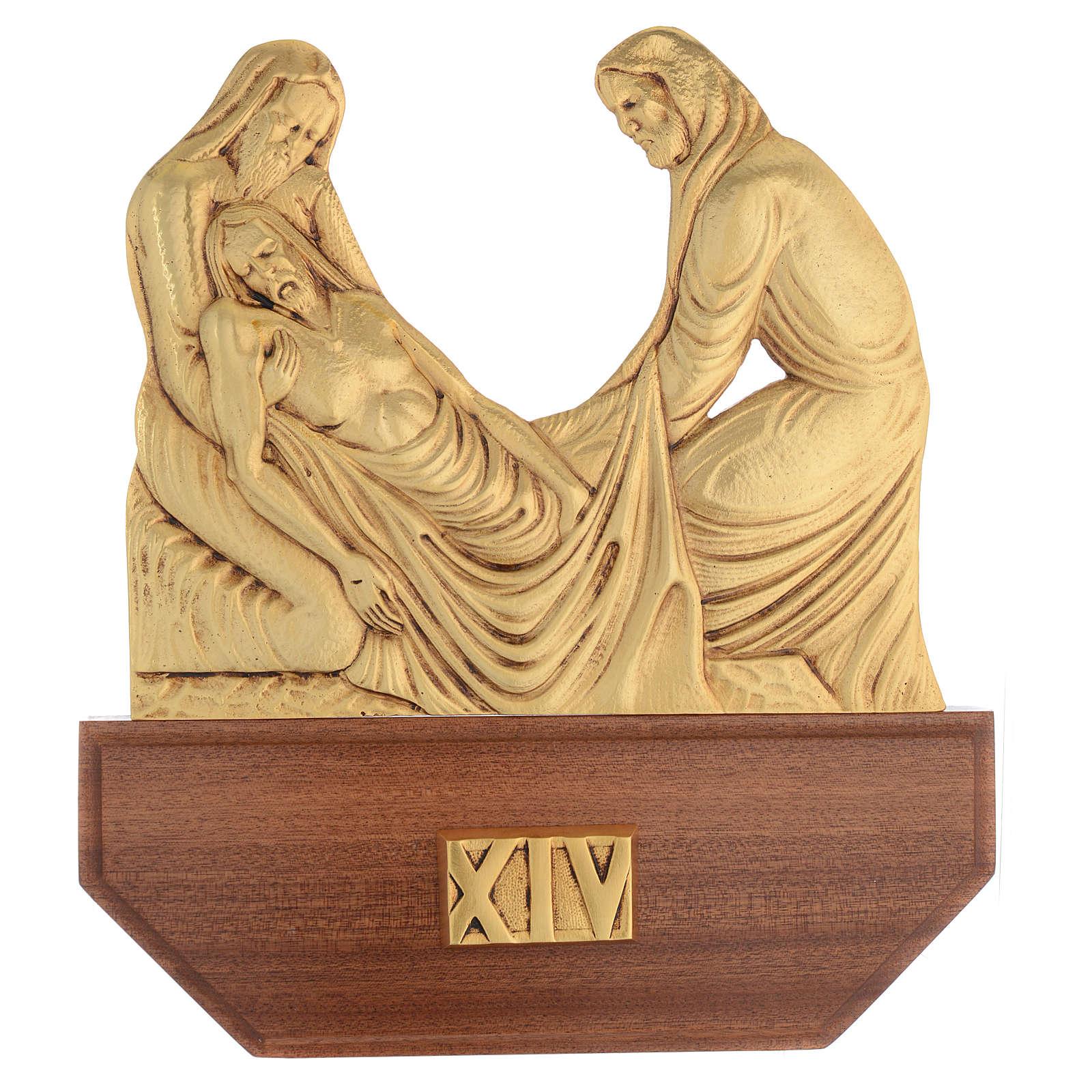 Vía Crucis latón fundido 24x30 cm sobre base 15 es 4