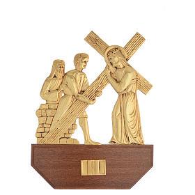 Vía Crucis latón fundido 24x30 cm sobre base 15 es s4