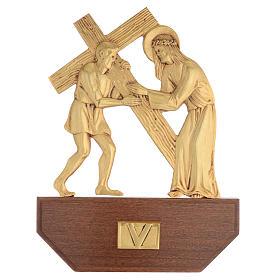 Vía Crucis latón fundido 24x30 cm sobre base 15 es s7