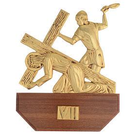 Vía Crucis latón fundido 24x30 cm sobre base 15 es s9