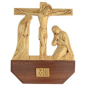 Vía Crucis latón fundido 24x30 cm sobre base 15 es s14