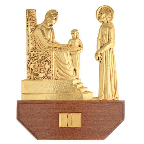 Vía Crucis latón fundido 24x30 cm sobre base 15 es 1