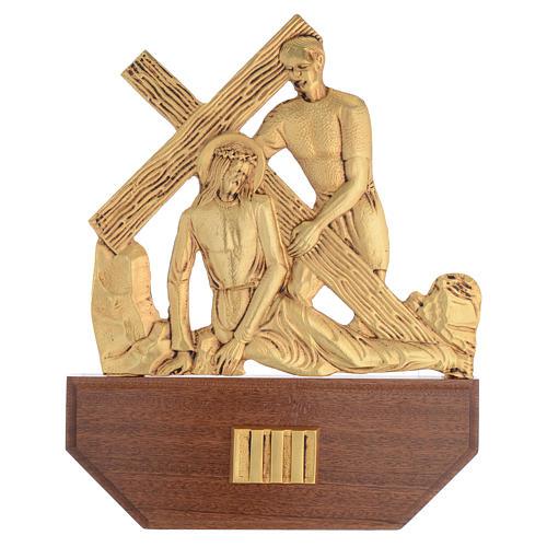 Vía Crucis latón fundido 24x30 cm sobre base 15 es 5