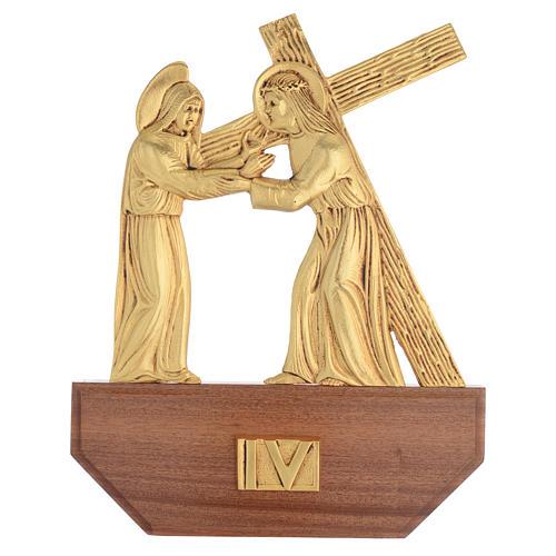 Vía Crucis latón fundido 24x30 cm sobre base 15 es 6