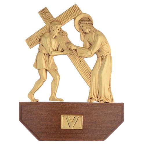 Vía Crucis latón fundido 24x30 cm sobre base 15 es 7