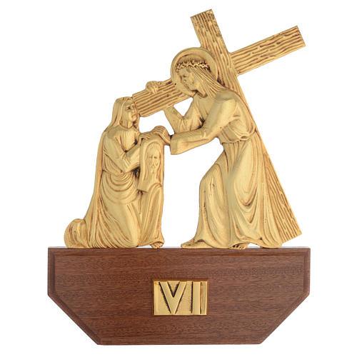 Vía Crucis latón fundido 24x30 cm sobre base 15 es 8