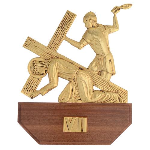 Vía Crucis latón fundido 24x30 cm sobre base 15 es 9