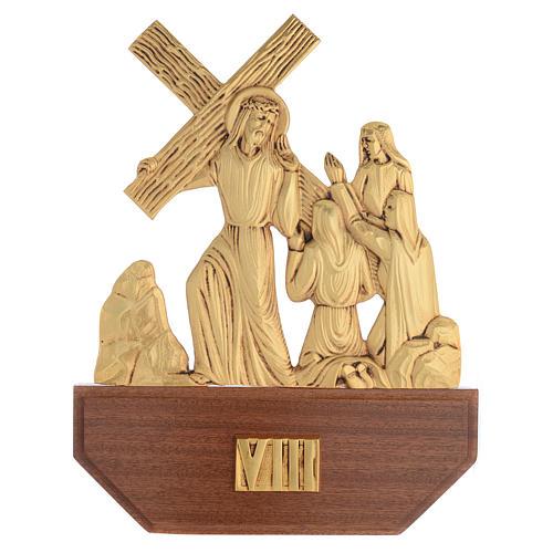 Vía Crucis latón fundido 24x30 cm sobre base 15 es 10