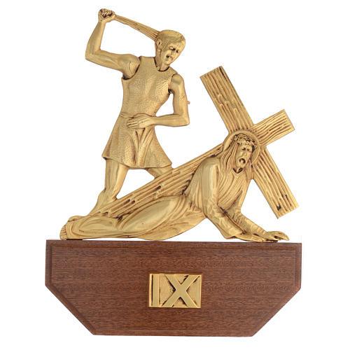 Vía Crucis latón fundido 24x30 cm sobre base 15 es 11