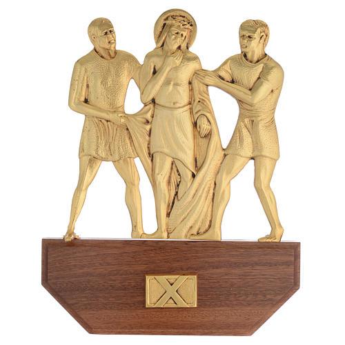 Vía Crucis latón fundido 24x30 cm sobre base 15 es 12