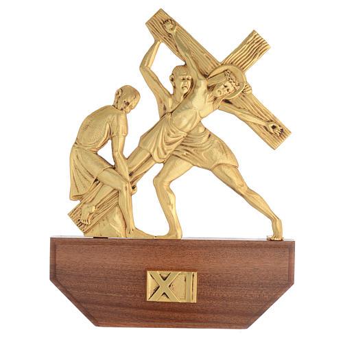 Vía Crucis latón fundido 24x30 cm sobre base 15 es 13