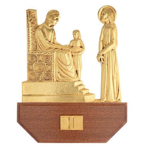 Way of the Cross in brass, 24x30 on capital - 15 stations 1