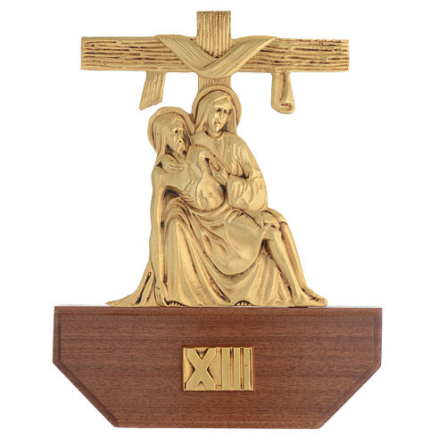 Way of the Cross in brass, 24x30 on capital - 15 stations 15