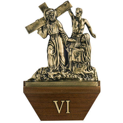 Way of the cross in brass with capital, 24x42cm 1