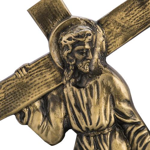 Via Crucis in ottone fuso 24x42 cm su capitello - 15 stazioni 2
